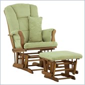 Stork Craft Tuscany Glider and Ottoman with Free Lumbar Pillow in Cognac with Sage cushions