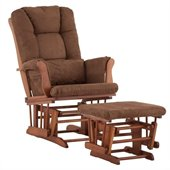Stork Craft Tuscany Glider and Ottoman with Free Lumbar Pillow in Cognac with Chocolate cushions