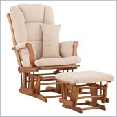 Stork Craft Tuscany Glider and Ottoman with Free Lumbar Pillow in Oak with Beige cushions