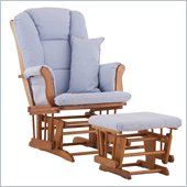 Stork Craft Tuscany Glider and Ottoman with Free Lumbar Pillow in Oak with Blue cushions