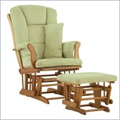 Stork Craft Tuscany Glider and Ottoman with Free Lumbar Pillow in Oak with Sage cushions