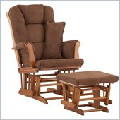 Stork Craft Tuscany Glider and Ottoman with Free Lumbar Pillow in Oak with Chocolate cushions