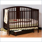 Stork Craft Hollie 4-in-1 Fixed Side Convertible Crib in Espresso