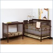 Stork Craft Milan 2-in 1 Crib and Changer Combo in Cherry