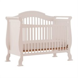 Stork Craft Valentia 4-in-1 Fixed Side Convertible Crib in White