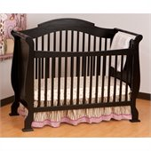 Stork Craft Valentia 4-in-1 Fixed Side Convertible Crib in Black