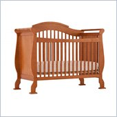 Stork Craft Valentia 4-in-1 Fixed Side Convertible Crib in Oak