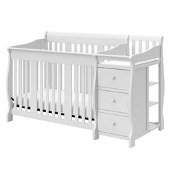 Stork Craft 4-in1 Portofino Crib & Changer Combo in White