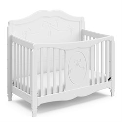 Stork Craft Princess Fixed Side Convertible Crib in White