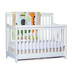 Stork Craft Cadenza 4-in-1 Fixed Side Convertible Crib in White