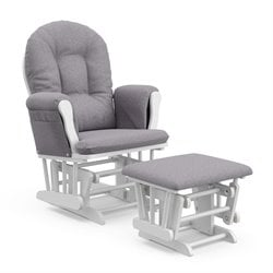 Storkcraft WhiteSlate Hoop Glider with Ottoman in Gray Swirl