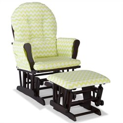 Stork Craft Hoop Custom Glider and Ottoman in Espresso and Citron Green