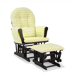Stork Craft Hoop Custom Glider and Ottoman in Black and Citron Green