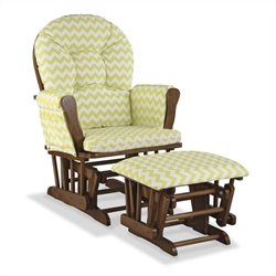 Stork Craft Hoop Custom Glider and Ottoman in Dove Brown and Citron Green