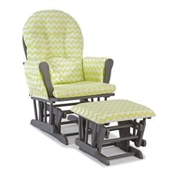 Stork Craft Hoop Custom Glider and Ottoman in Gray and Citron Green