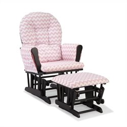 Stork Craft Hoop Custom Glider and Ottoman in Black and Pink