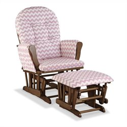 Stork Craft Hoop Custom Glider and Ottoman in Pink and Dove Brown