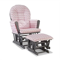 Stork Craft Hoop Custom Glider and Ottoman in Pink and Gray