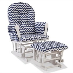 Stork Craft Hoop Custom Glider and Ottoman in White and Navy