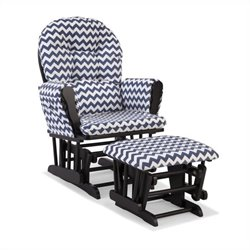 Stork Craft Hoop Custom Glider and Ottoman in Black and Navy