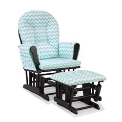 Stork Craft Hoop Custom Glider and Ottoman in Black and Turquoise