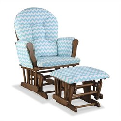Stork Craft Hoop Custom Glider and Ottoman in Dove Brown and Turquoise