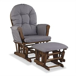 Stork Craft Hoop Custom Glider and Ottoman in Dove Brown and Slate Gray