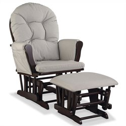 Stork Craft Hoop Custom Glider and Ottoman in Espresso and Taupe