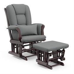 Stork Craft Custom Tuscany Glider and Ottoman in Espresso and Grey