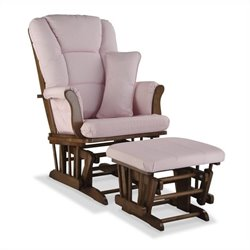 Stork Craft Tuscany Custom Glider and Ottoman in Dove Brown and Pink Blush
