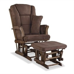 Stork Craft Tuscany Custom Glider and Ottoman in Dove Brown and Chocolate