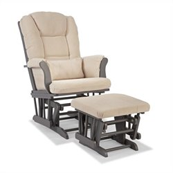 Stork Craft Tuscany Custom Glider and Ottoman in Gray and Beige