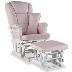 Stork Craft Tuscany Custom Glider and Ottoman in White and Pink Blush