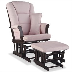 Stork Craft Tuscany Custom Glider and Ottoman in Espresso and Pink Blush