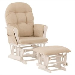 Stork Craft Custom Hoop Glider and Ottoman in White and Beige
