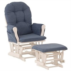 Stork Craft Custom Hoop Glider and Ottoman in White and Denim