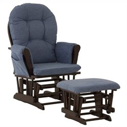 Stork Craft Custom Hoop Glider and Ottoman in Espresso and Denim