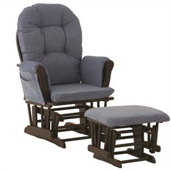 Stork Craft Custom Hoop Glider and Ottoman in Black and Denim