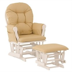 Stork Craft Custom Hoop Glider and Ottoman in White and Khaki