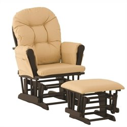 Stork Craft Custom Hoop Glider and Ottoman in Black and Khaki