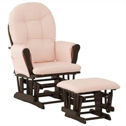 Stork Craft Custom Hoop Glider and Ottoman in Espresso and Pink