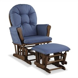 Stork Craft Hoop Custom Glider and Ottoman in Dove Brown and Denim