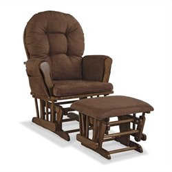 Stork Craft Hoop Custom Glider and Ottoman in Dove Brown and Chocolate