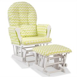 Stork Craft Hoop Custom Glider and Ottoman in White and Citron Green