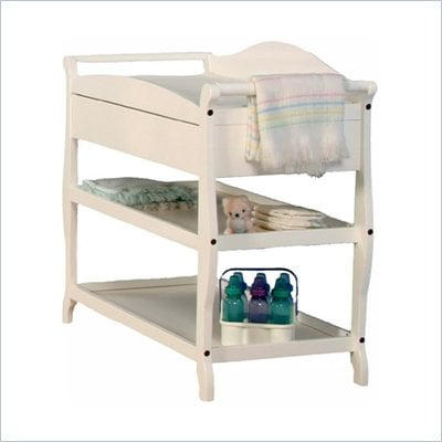 Stork Craft Aspen Sleigh Changing Table with Drawer in White