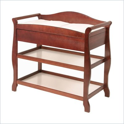 Stork Craft Aspen Sleigh Changing Table with Drawer in Cherry