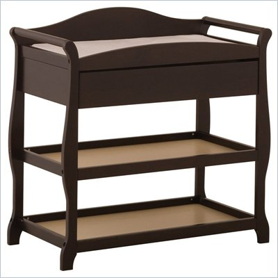 Stork Craft Aspen Sleigh Changing Table with Drawer in Espresso
