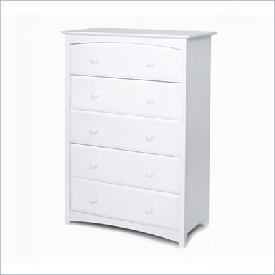 Stork Craft Beatrice 5 Drawer Chest in White Finish