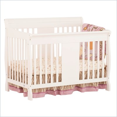 Storkcraft Calabria 4 in 1 Fixed Side Convertible Crib in White