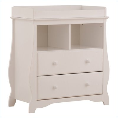 Stork Craft Carrara 2 Drawer Changing Table in White